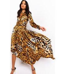 akira free spirit long sleeve animal print flowy maxi dress
