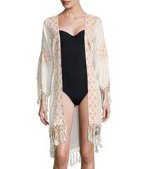 melissa odabash women's fringed open-front robe - cream peach