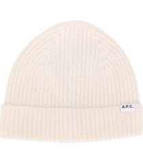 a.p.c. logo patch beanie hat - white
