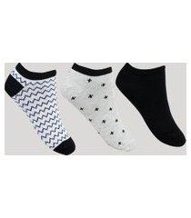 kit de 3 meias feminino cano curto estampa geométrica e divertida multicor
