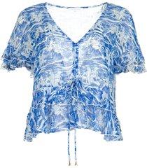 blouse met print caesar  blauw