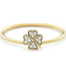 diamond 18k yellow gold four leaf clover ring