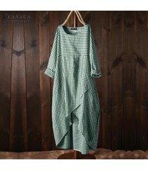 zanzea mujeres de manga larga a cuadros comprobar camisa de vestir larga suelta étnico tamaño midi vestido plus -verde