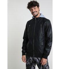 jaqueta masculina com capuz em moletom preta