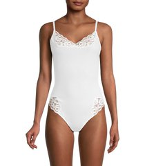 free people women's side of sass lace-trim cotton bodysuit - white - size m