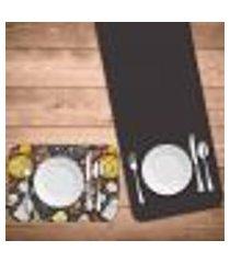jogo americano com caminho de mesa wevans pizza kit com 2 pçs + 2 trilhos