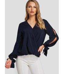 blusa de manga larga con cuello en v azul marino