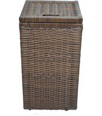 cesto roupa suja roupeiro fibra sintetica junco argila 30x30x57 - marrom - feminino - dafiti