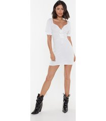 womens fret knot ribbed tie dress - white
