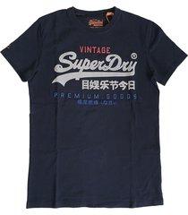 superdry donkerblauw stevig zacht slim fit t-shirt valt 1 maat kleiner
