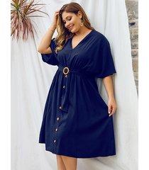 plus talla azul marino cinturón diseño medias mangas con cuello en v vestido