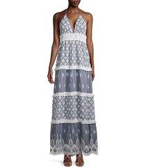 deep v-neck fringe chambray dress