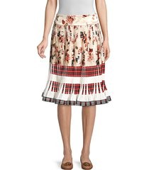 tory burch women's printed pleated skirt - ivory multi - size 8