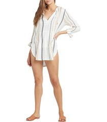 women's l space caswell cover-up hooded tunic, size large - ivory