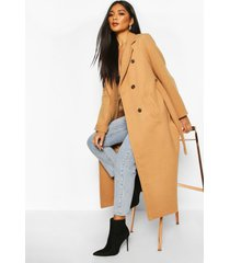 longline double breasted belted wool look coat, camel