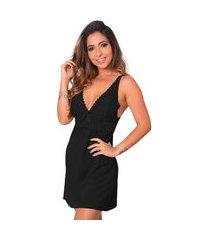 1 camisola renda sensual linha noite lingerie feminina preto