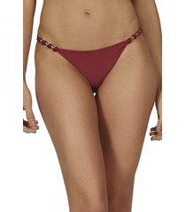 vix swimwear paula solid bead & knot bikini bottoms, size medium in red at nordstrom