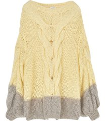 yellow and grey oversize sweater