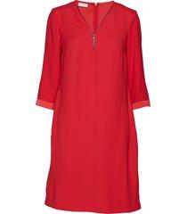 dress woven fabric knälång klänning röd gerry weber