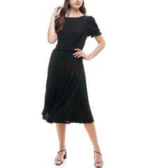monteau petite cap sleeve pleated dress