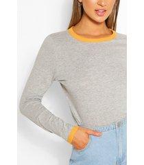 long sleeve contrast ringer top, grey marl