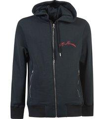 alexander mcqueen embroidered logo zip hoodie