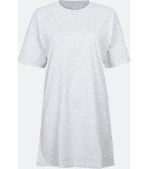 lång t-shirt i bomull med rund hals - melerad grå