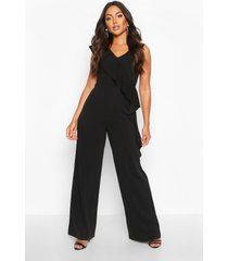 asymetric ruffle wide leg jumpsuit, black