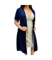 conjunto camisola de alcinha coraçáo com robe manga curta pós parto linda gestante