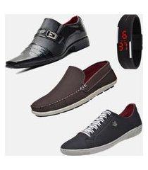 kit macio conforto com relógio sapatenis sapatilha e sapato social b2c shoes