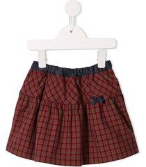 familiar plaid print skirt - red