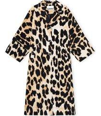 linen canvas leopard print coat