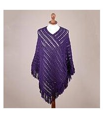 100% alpaca poncho, 'deep purple lattice' (peru)