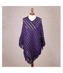 100% alpaca poncho, 'deep purple lattice' (peru)