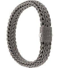 john hardy silver and black rhodium classic chain flat chain bracelet