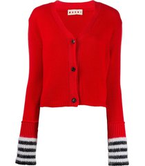 marni striped cuff cardigan - red