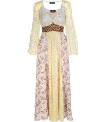 blumarine long dress in printed multicolored silk