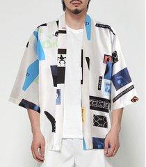 hombres retro kimono protector solar bloque de color carta de dibujos animados abrigo chaqueta de punto