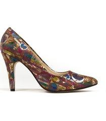 skórzane szpilki zapato 035 brązowe kwiaty