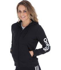 jaqueta moletinho com capuz adidas essentials linear fz hd - feminina - preto/branco