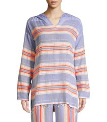 lemlem women's fiesta striped hoodie - lavender - size xs