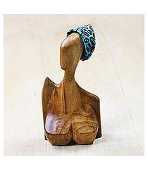 teakwood sculpture, 'head scarf' (ghana)