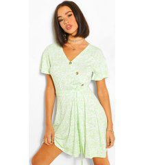 floral button ruffle tea dress, sage