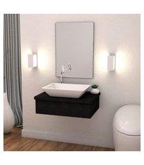kit bancada p/ banheiro compace metrópole 601 cuba rt45 preto onix