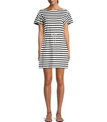 striped drawstring cotton mini dress