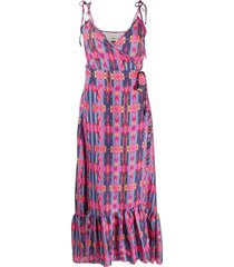 jessie western flounced geometric print silk dress - pink