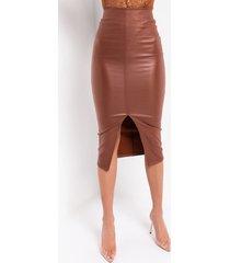 akira full of secrets vegan leather midi skirt