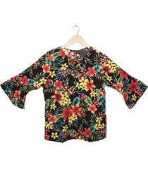 blusa chalis negra manga tres cuartos fajas canela 290030901