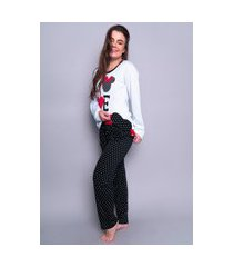 pijama poa personagem longo 4 estações feminino com tapa olho inverno adulto preto