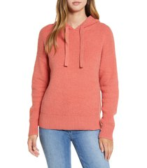 women's caslon sweater hoodie, size large - coral